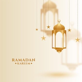 Ramadan kareem islamic greeting with hanging lantern