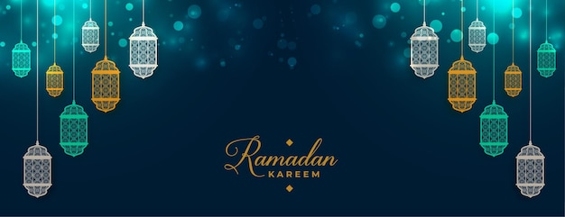 Ramadan kareem islamic lamp decoration banner Free Vector