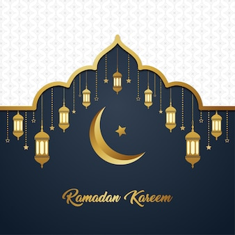 Ramadan kareem islamic luxury white gold elegant exclusive background