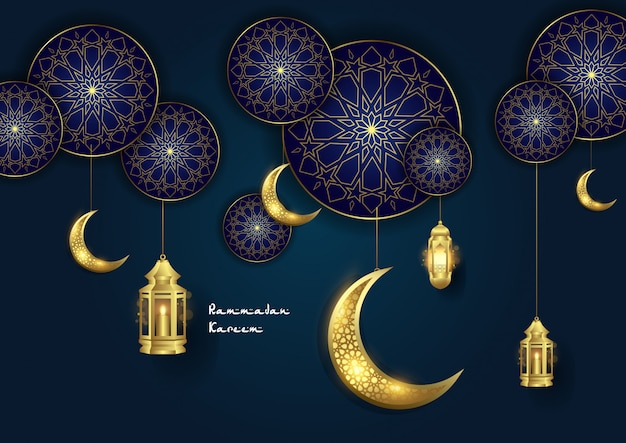 Ramadan kareem islamic ornament with moon and lantern