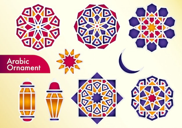 Ramadan kareem islamic set with geometric patterns