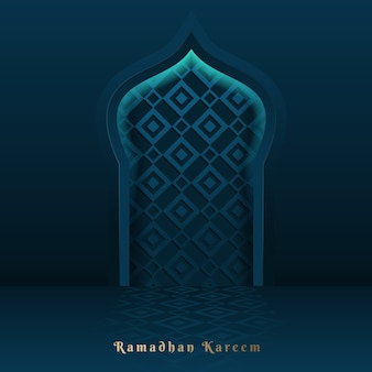 Рамадан карим исламский дизайн векторной поздравительной открытки