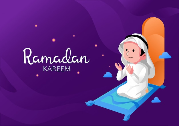 Ramadan kareem kid prayer flat design