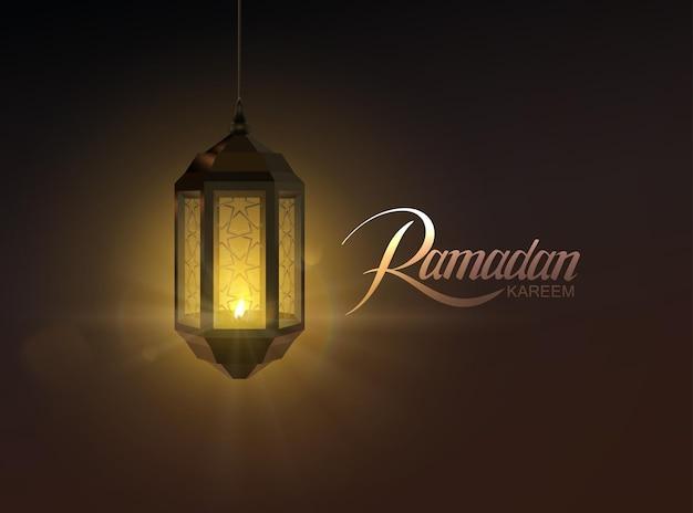 Этикетка рамадан карим и светящийся арабский фонарь