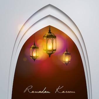Ramadan kareem lamp lights for greeting islamic celebration