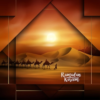 Ramadan kareem landscape arabian and camel illustration