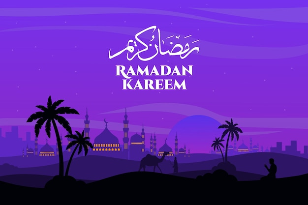 Ramadan kareem landscape flat mosque camel purple sky beautiful