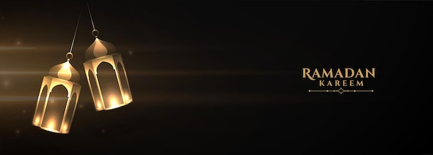 Banner di lanterna ramadan kareem