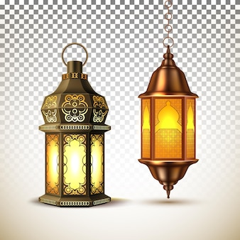 Ramadan kareem lantern, lamp realistic illustration.  arab festival religious, glowing on transparent background