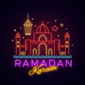 Ramadan kareem lettering neon sign