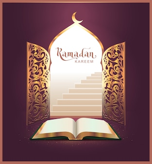 Ramadan kareem lettering text and open book, door