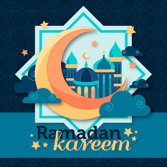 Ramadan kareem lettering with mosque and moon