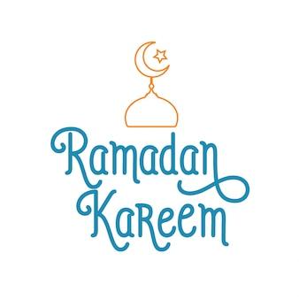Ramadan kareem lettering with mosque