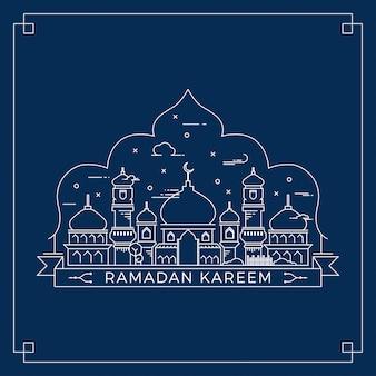 Ramadan kareem line vector art design