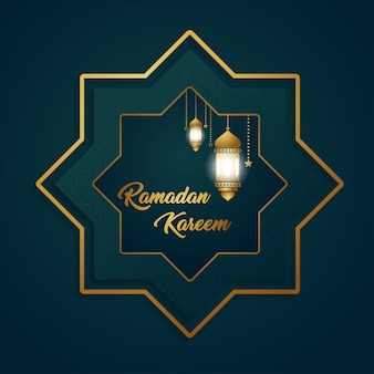 Ramadan kareem luxury exclusive hexagon moon lantern background design