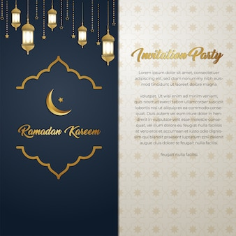 Ramadan kareem luxury golden invitation card