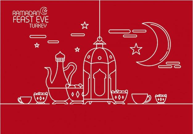 Ramadan kareem in mono line style ornament background