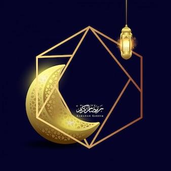 Рамадан карим луна и фонарь с геометрическим фоном