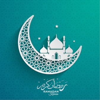 Ramadan kareem moon and mosque beautiful background