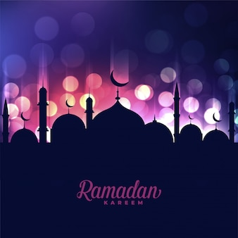 Ramadan kareem mosque on bokeh light background