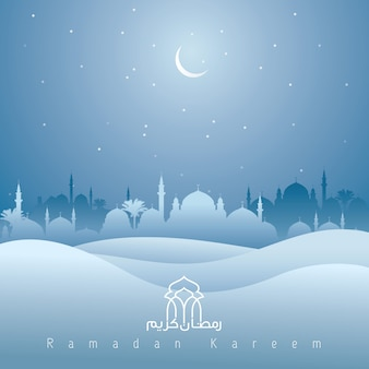 Ramadan kareem mosque and desert silhouette islamic background