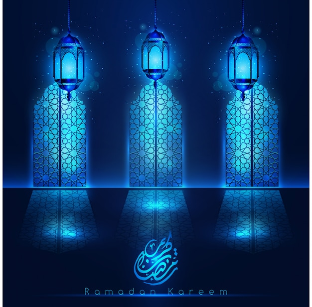 Ramadan kareem mosque doors with light blue lanterns and pattern