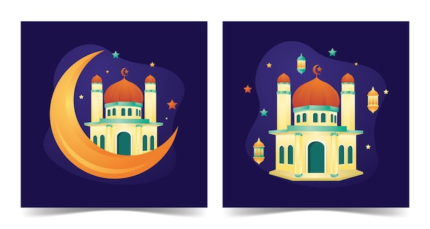 Ramadan kareem mosque mosque building with flat style