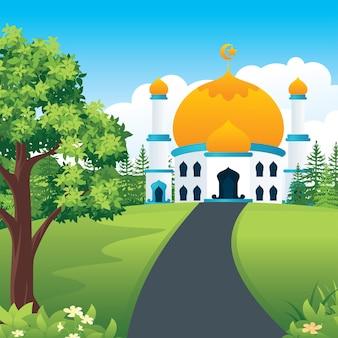 田園地帯の自然の風景とラマダンカリームモスク