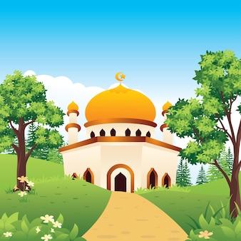 風景とラマダンカリームモスク風景、イスラムフラット漫画