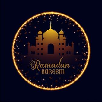Ramadan kareem mosque with sparkle frame