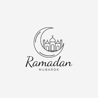 ラマダンカリームムバラクミニマリストラインアートロゴ、イスラム教の概念のイラストデザイン