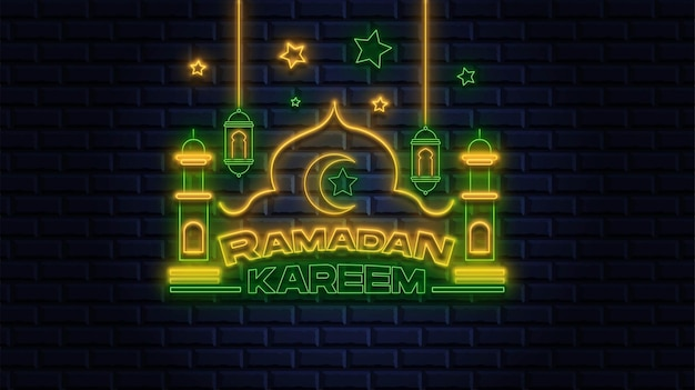 Ramadan kareem neon light background