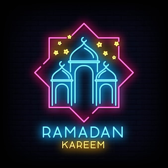 Ramadan kareem neon sign vector with lettering and crescent moon and star