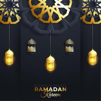 라마단 카림 또는 eid 무바라크 인사말 배경 종이 색 배경에 무늬 골드와 이슬람