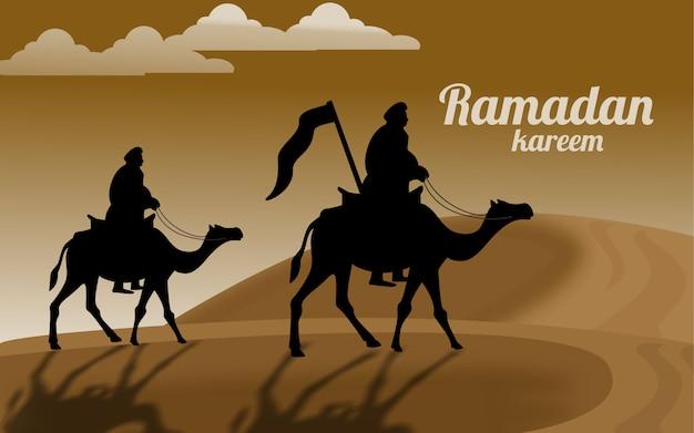 ラマダンカリームまたはeidムバラク挨拶背景イスラム