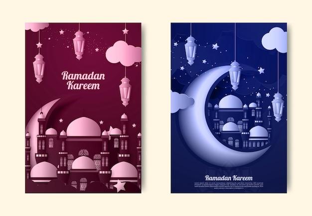 Рамадан карим или ид мубарак поздравительная открытка исламская