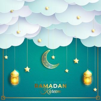 雲の上のランタンと三日月とラマダンカリームまたはラマザンムバラク挨拶