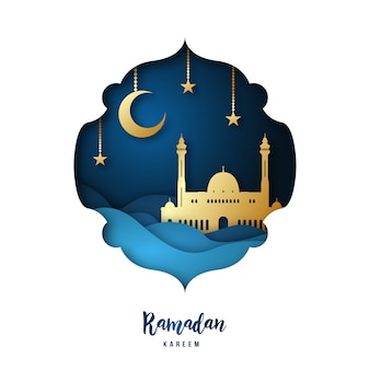 Ramadan kareem paper art illustration.