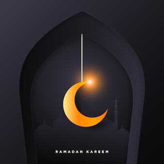 Ramadan kareem paper art islamic background