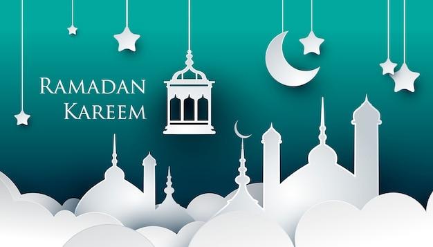 Ramadan kareem paper art style design
