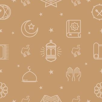 라마단 카림 패턴, eid mubarak 배경, 라인 아이콘을 설정합니다.