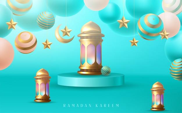 Рамадан карим плакат, золотой дизайн арабской каллиграфии.