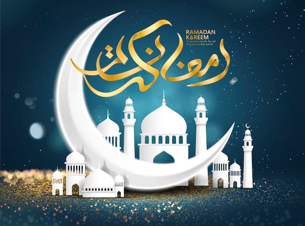 Ramadan kareem poster with crescent and mosque