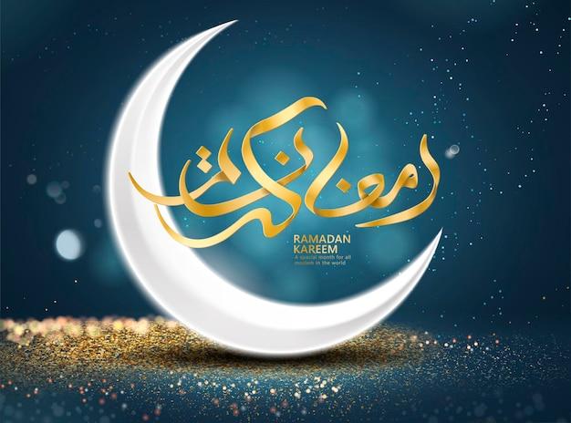 Ramadan kareem poster with crescent