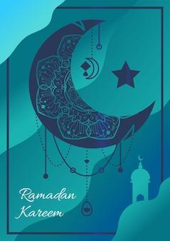 Ramadan kareem poster with creszent moon