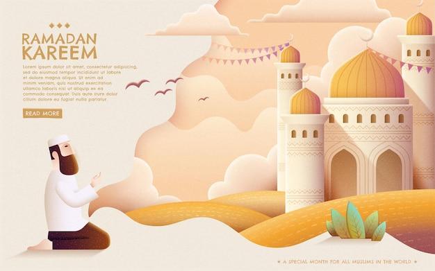 Ramadan kareem prayer and mosque in hand drawn style