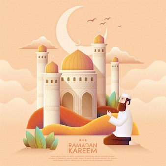 Ramadan kareem prayer and mosque in hand drawn style