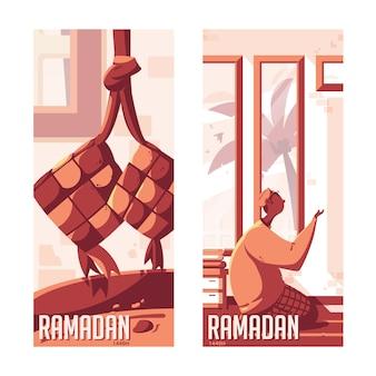 Ramadan kareem praying edition Premium Vector