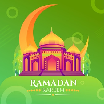 Ramadan kareem, ramadan mubarak greeting card with mosque