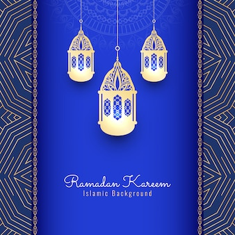 Ramadan Kareem religious background with lanterns